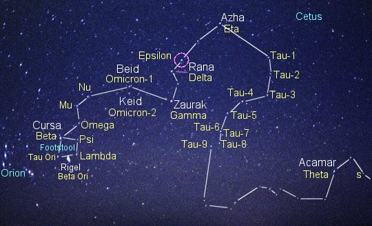 Closest Stars To Earth Map.Epsilon Eridani